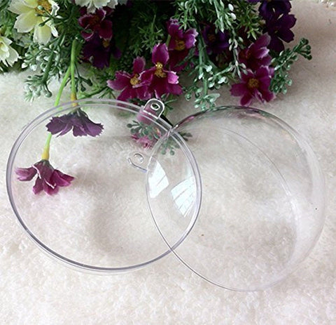 50mm Clear Plastic Acrylic Fillable Ball Ornament Pkg of 24