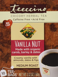 Teeccino Vanilla Nut Chicory Herbal Tea Bags Caffeine Free Acid Free 10 Coun... - Chickadee Solutions - 1
