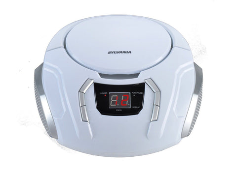 Sylvania SRCD261-B-WHITE Portable CD Boombox with AM/FM Radio white - Chickadee Solutions - 1
