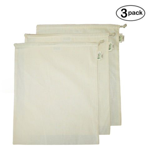 Simple Ecology Organic Cotton Muslin Produce Bag - X-Large (3 Pack) - Chickadee Solutions - 1