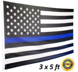Thin Blue Line Flag USA 5 x 3 FT Full Size Police Flag For Men And Women Of L... - Chickadee Solutions - 1