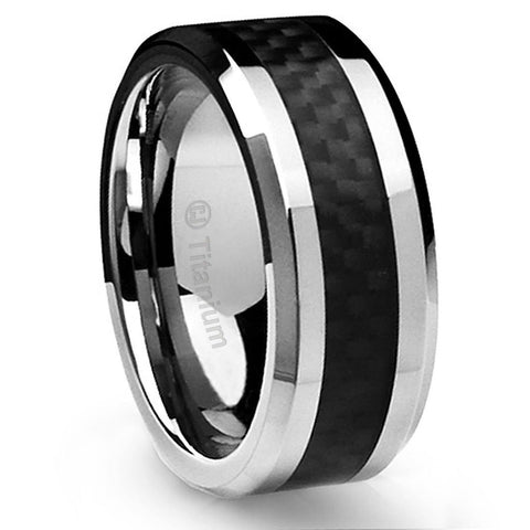 10MM Men's Titanium Ring Wedding Band Black Carbon Fiber Inlay and Beveled Ed... - Chickadee Solutions - 1