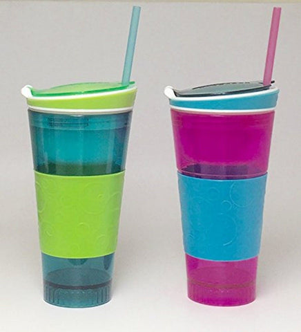 Snackeez Plastic 2 in 1 Snack & Drink Cup 2 Pack Pink and Blue Pink & Blue - Chickadee Solutions - 1