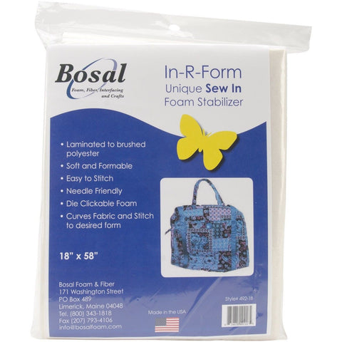 "In-R-Form Unique Sew In Foam Stabilizer-18""X58"" White 1/Pkg Model 492-18 Bosal - Chickadee Solutions"