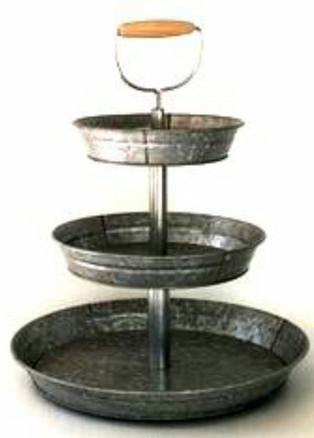 1 x 3 Tier Galvanized Round Metal Stand Outdoor Indoor Serveware for Fruits a... - Chickadee Solutions