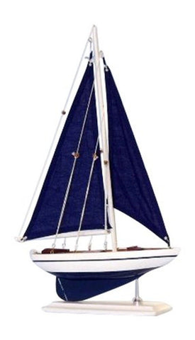 "Hampton Nautical Pacific Sailer Sails Boat 17"" Blue - Chickadee Solutions - 1"