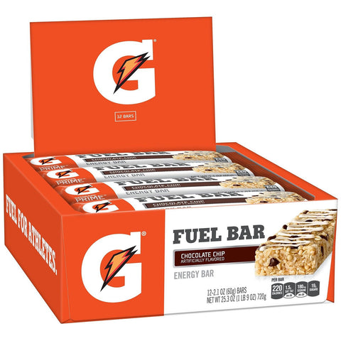 Gatorade Prime Fuel Bar Chocolate Chip 45g of carbs 5g of protein per bar (12... - Chickadee Solutions - 1