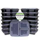Freshware 15-Pack 3 Compartment Bento Lunch Boxes with Lids - Stackable Reusa... - Chickadee Solutions - 1