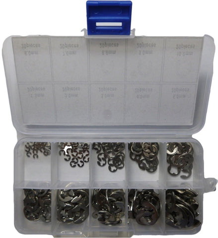 200 Piece Stainless Steel E Clip Circlip C Clip Retaining Ring Assortment Pack - Chickadee Solutions - 1