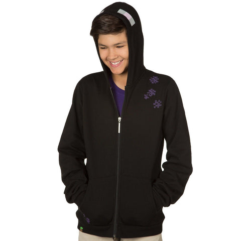 Boy's Minecraft Enderman Zip Up Hoodie Black X-Small - Chickadee Solutions - 1