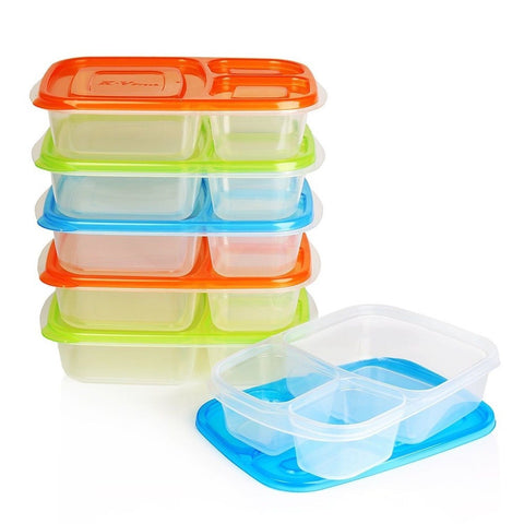 (6 Pack) 3 Compartment Microwave Safe Food Container & Lid Divided Plate Kids... - Chickadee Solutions - 1