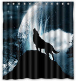 "Custom Polyester Fabric Waterproof Bathroom Shower Curtain 66"" x 72"" Wolf Howl - Chickadee Solutions - 1"