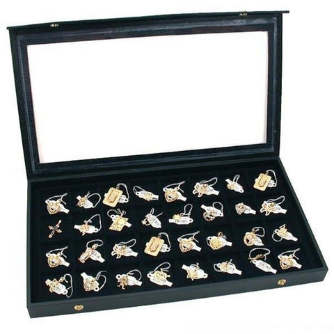 32 Earring Jewelry Display Case Clear Top Black New - Chickadee Solutions - 1