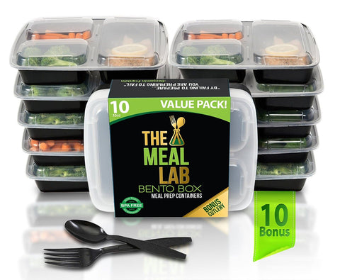 [STEAL-DEAL] 10 LONG LASTING 3-Compartment BPA FREE Stackable Meal Prep Food ... - Chickadee Solutions - 1