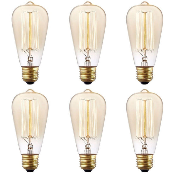 6 pack stg vintage antique 60 watt edison light bulb e26. Black Bedroom Furniture Sets. Home Design Ideas