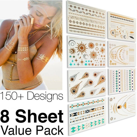 #1 Best Metallic Temporary Tattoos 150+ Designs - 8 Sheet Pack Gold Silver ... - Chickadee Solutions - 1