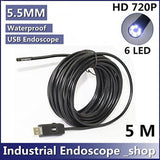 GCA 5.5mm Diameter USB Waterproof 6 Led Endoscope Borescope Inspection Wire C... - Chickadee Solutions - 1