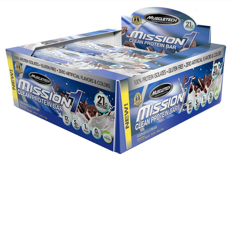 MuscleTech Mission1 Clean Protein Bar High Protein Low Fat Delicious Cookies ... - Chickadee Solutions - 1
