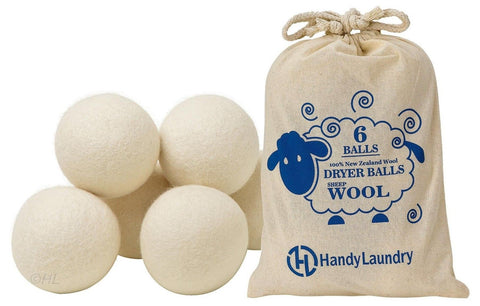 Handy Laundry Sheep Wool Dryer Balls Pack of 6 Premium 100% Natural XL Fabric... - Chickadee Solutions - 1