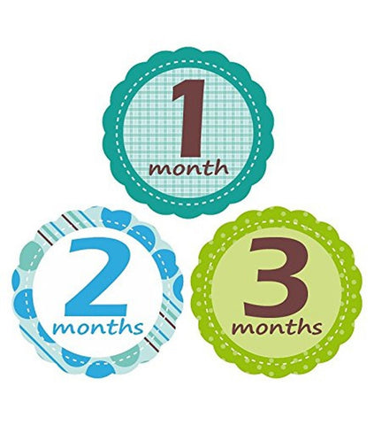 'MuchMore' Baby Monthly Stickers for Boy Bodysuit Stickers Onesie Stickers Gr... - Chickadee Solutions - 1