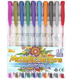 10 Pack - Metallic Gel Ink Pens Set for Adult Coloring Books Scrapbooking and... - Chickadee Solutions - 1