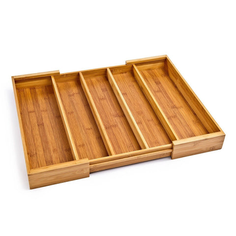 Seville Classics Expandable Bamboo Cutlery Drawer Organizer 5 Compartments - Chickadee Solutions - 1