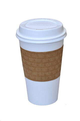 Pretty Sips Paper Hot Cups with Lids and Cup Sleeves White (HOT16LS)Qty of 50 - Chickadee Solutions