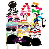 58PCS Colorful Props On A Stick Mustache Photo Booth Party Fun Wedding Favor ... - Chickadee Solutions - 1