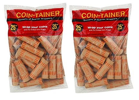 (72 Count) Preformed Quarter Tubes Paper Coin Wrapper Shotgun Roll - Chickadee Solutions
