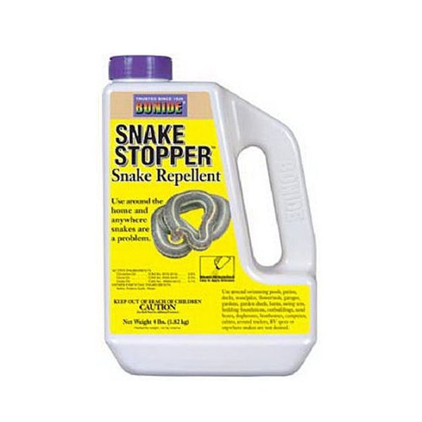 Bonide® SNAKE STOPPER™ Snake Repellent Bonide® SNAKE STOPPER™ Snake Repellent effectively repels snakes from around your home. Apply around homes, garages, barns, swimming pools, gardens, garden sheds, woodpiles, and other areas where snakes may be a problem.