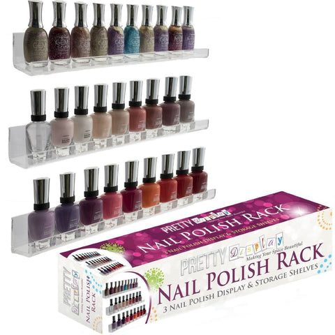 """Invisible"" Acrylic Nail Polish Rack. Versatile 3 Floating Shelves Set - Wall... - Chickadee Solutions - 1"