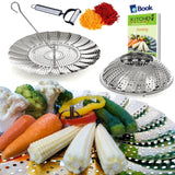 Vegetable Steamer Basket Complete Bundle by Kitchen Deluxe - 100% Premium Sta... - Chickadee Solutions - 1