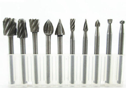 10PC HSS Routing Router Bits Burr Rotary Tools Suit Dremel & Rotary Tool Engr... - Chickadee Solutions