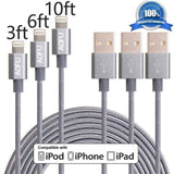 AOFU Lightning Cable3Pack 3FT 6FT 10FT Nylon Braided Lightning to USB Cable U... - Chickadee Solutions - 1