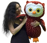 Big Stuffed Owl 28 Inches Premium Quality Brown Color Soft Plush Embroidered ... - Chickadee Solutions - 1
