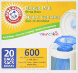 Munchkin Arm & Hammer Diaper Pail Snap Seal and Toss Refill Bags 600 Count 20... - Chickadee Solutions