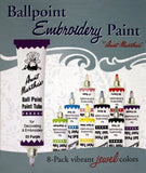 Aunt Martha's Ballpoint 8-Pack Embroidery Paint Jewel Colors - Chickadee Solutions - 1