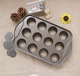Kootips 12-Cup Carbon Steel Removeable Bottom NonStick Cupcake Pan Set - Nons... - Chickadee Solutions - 1