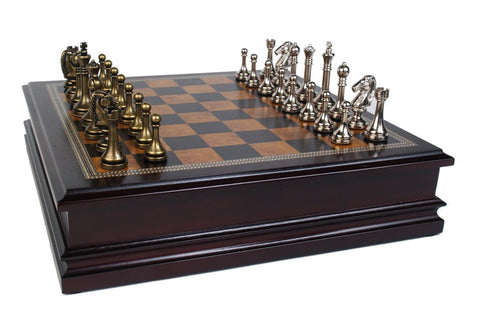 "Metal Chess Set With Deluxe Wood Board and Storage - 2.5"" King - Chickadee Solutions - 1"
