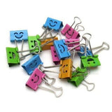 Deli Smiling Binder Clips 19mm Assorted Colors 40 Clips per Tub (8487) 40pc - Chickadee Solutions - 1