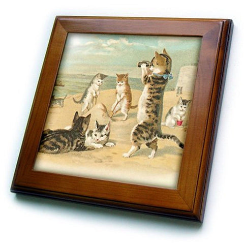 3dRose ft_48557_1 Cats at The Beach-Framed Tile 8 by 8-Inch 8x8 Framed Tile - Chickadee Solutions