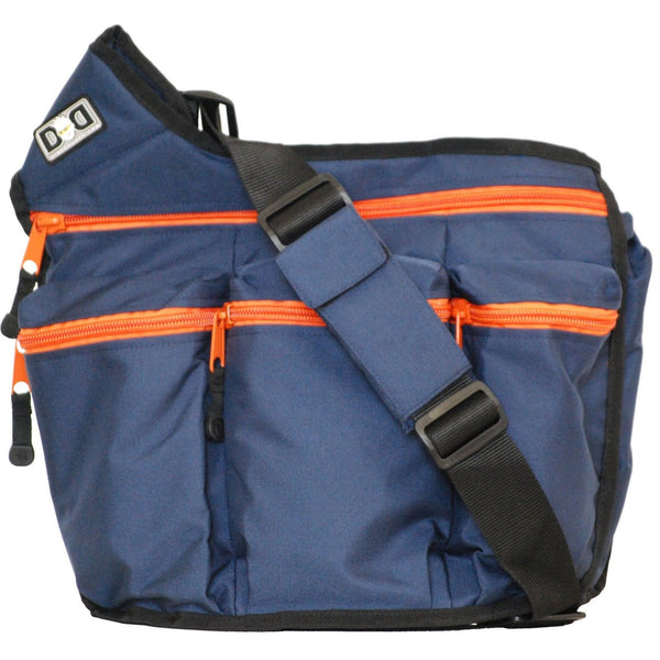 diaper dude messenger diaper bag for dads navy with orange zippers navy orange chickadee solutions. Black Bedroom Furniture Sets. Home Design Ideas