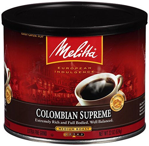 Melitta Coffee Colombian Supreme Ground Medium Roast 22-Ounce 22 Ounce - Chickadee Solutions - 1