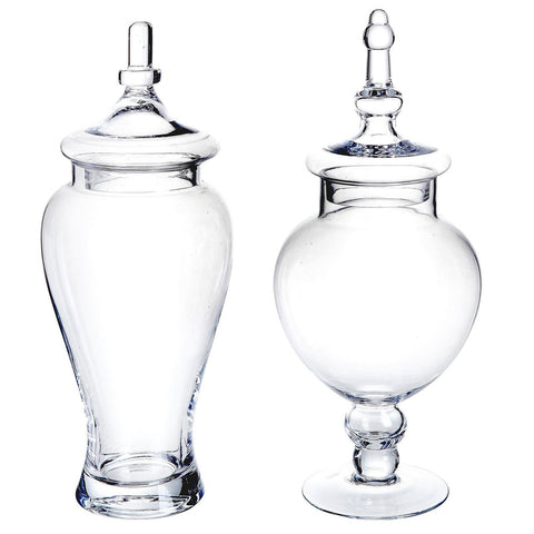 Clear Glass Hand Blown Kitchen Canister Set