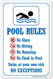 "My Sign Center Swimming Pool Rules Safety Sign Plastic - 14"" x 10"" - Chickadee Solutions - 1"