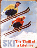 Ski - Thrill of a Lifetime Metal Tin Sign 12x16 - Chickadee Solutions - 1