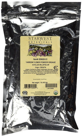 Organic Yarrow Flower Powder 1 Lb (453 G) - Starwest Botanicals - Chickadee Solutions - 1