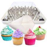 BakeLux Cake Decorating Tips Set - 56 Piece Professional Kit With 18-Inch Reu... - Chickadee Solutions - 1