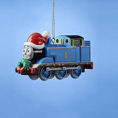 "3.5"" Blue Thomas the Train #1 with Santa Hat Christmas Ornament - Chickadee Solutions"