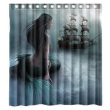 Custom Mermaid and the Sailing Ship Waterproof Polyester Fabric Bathroom Show... - Chickadee Solutions - 1